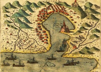 Vlora 1573 by Simon Pinargenti (Kanina castle top right)