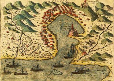 Vlora 1573 by Simon Pinargenti (Kanina castle top right)